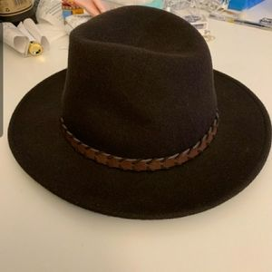 NWT Lucky Brand Ranger laced trim brown hat